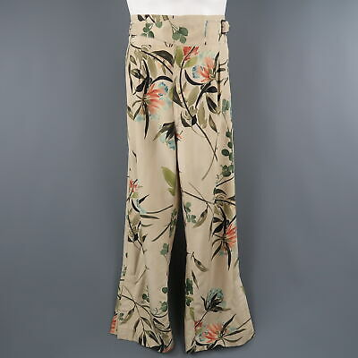 dfe254b0dd7 GUCCI by TOM FORD SS2003 Size S Khaki Floral Silk Pleated Trousers   Pants