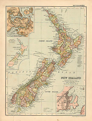 1908 Large Victorian Map ~ New Zealnd ~ Wellington Auckland Town Plan
