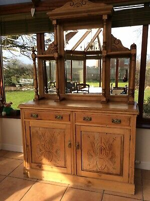 Victorian Mirror Backed Sideboard Dresser Stripped Wax Pine Bevelled Mirrors