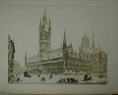 Hotel de Ville - Ypres. Drawn and engraved by John Coney (1786-1833).
