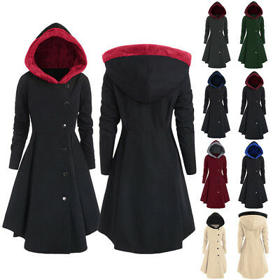 Plus Size Women Contrast Coat Hooded Asymmetric Cosplay Casual Skirted Jacket