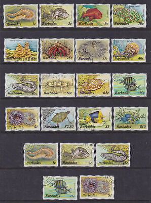 Barbados 1985-87 Used FU Definitives Marine Life Fish Turtles Crab Worms Anemone