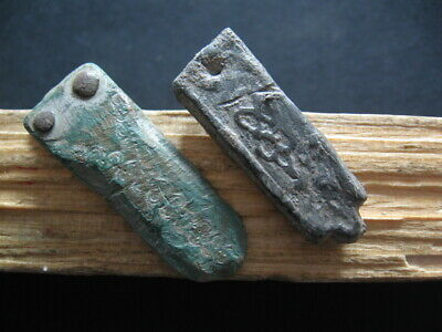 2 Rune Marks Amulets Ancient Celtic Silvered Bronze Magic Talismans 300-100 B.c.
