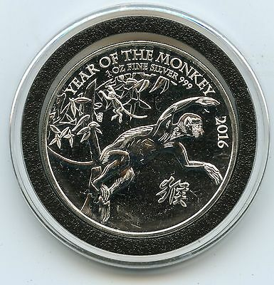 2016 Year of Monkey .999 Silver Coin 1 oz Great Britain - 2 Pounds Lunar - CC136