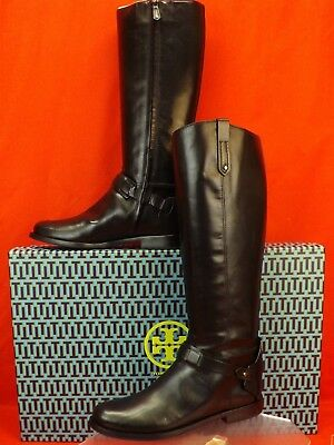 fb4dc6760 Nib Tory Burch Colton Black Galleon Leather Reva Tall Riding Zip Boots 8