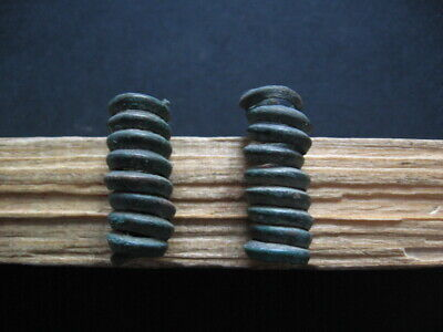 Bronze Age Pair Of Ancient Illyrians Spiral Twisted Bronze Hairpin 1200-900 B.c.