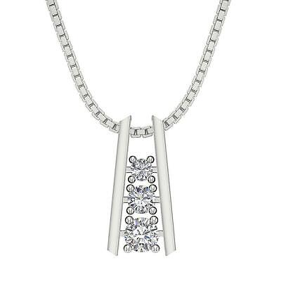 Journey Pendant Necklace SI1 G 0.65 Ct Round Cut Diamond 14K White Yellow Gold