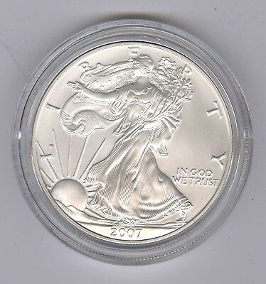 2007W AMERICAN EAGLE 1oz .999 SILVER UNCIRCULATED DOLLAR, COA FIRST STRIKE