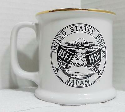 "United States Forces Japan Shaving Style Coffee Mug Gold Trim 3 3/4"" Tall EUC"