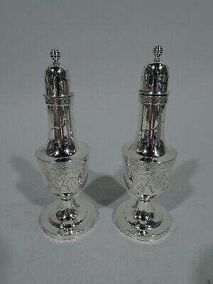 Tiffany Salt & Pepper Shakers - 1544 - Antique Pair - American Sterling Silver