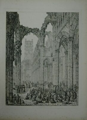 Abbey of St. Bertin - St. Omer. Interior looking West. Drawn and engraved by Joh