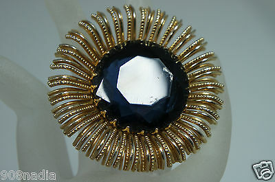 Vintage Gold Tone Large Round Victorian Pendant Deep Blue Faceted Crystal/Glass