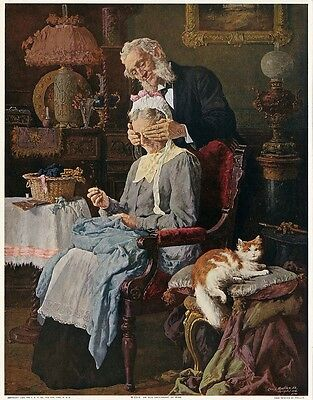 L. MOELLER Antique 1909 Romantic Color Halftone Print AN OLD SWEETHEART OF MINE