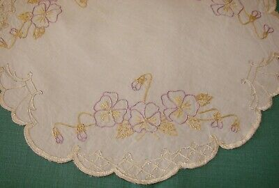 """Antique Society Linen Silk Embroidered Doily - 12 3/4"""" - Floral"""