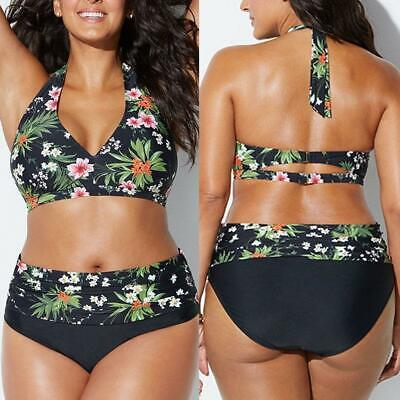 Pacento 6 Styles Print Flower Swimsuit Women Plus Size XXL High Waist Two Pieces