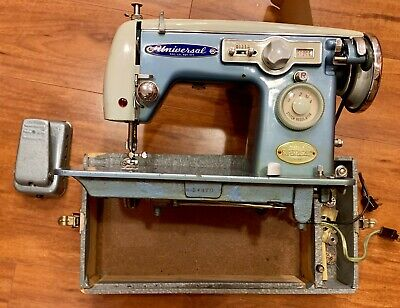 Vintage Universal Antique Blue Sewing Machine Rockabilly Mid Century Heavy Duty