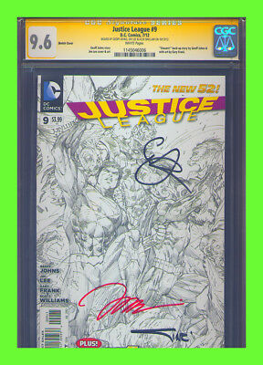 Justice League #9 Sketch Variant CGC 9.6 SS Jim Lee Aquaman Batman Superman