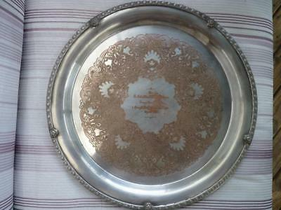 PRESENTATION SILVER PLATED SALVER -  TO LT COL COLEMAN  MC  -  38cm diameter