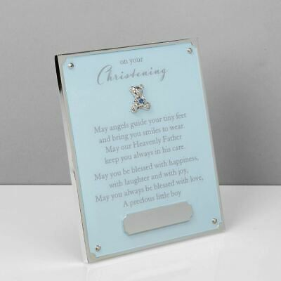 Bambino Blue 'On Your Christening' Plaque w/ Engraving Plate - CG511B