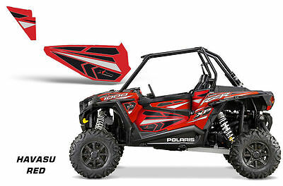 AMR Racing UTV Door Graphics Inserts for Polaris RZR 1000 Dragonfire HiBoy RED H