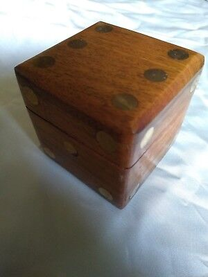 Wooden Dice Box - Inlaid Brass Pips