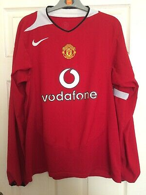 """MANCHESTER UNITED RED HOME SHIRT RARE Long SLEEVE  22"""" Pit To Pit Mufc Football"""