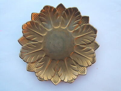 Antique vintage copper tray plate with leaves motif