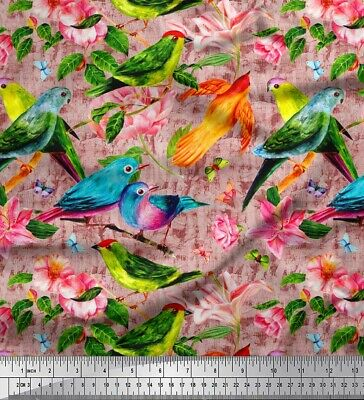 Soimoi Fabric Birds,Leaves & Lily Flower Printed Fabric 1 Meter-FW-202D