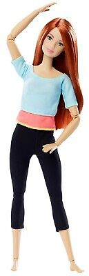 Made to Move Yoga Barbie LIGHT BLUE Top RED Hair Posable Articulated Doll NEW