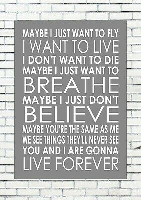 LIVE FOREVER – OASIS Lyrics  Wall Art Print Poster A4