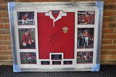 Framed and signed Gareth Edwards, JPR Williams and Phil Bennett rugby jersey