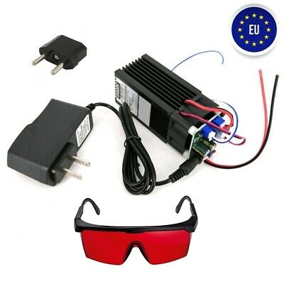 450nm Focusable 15W Blue Laser Module Diode Engraving Cutter +TTL BRD +Goggles