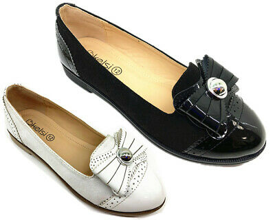 Girls Kids New Childrens Formal Smart Casual Back To School Loafersl Shoes Size