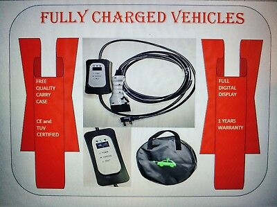 Granny mains portable EV charger long 10m cable.UK 3 pin plug. Type 1.