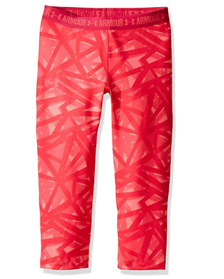 NWT $35 YXL Girls Youth Kids Under Armour UA Heatgear Capri Leggings New Pink