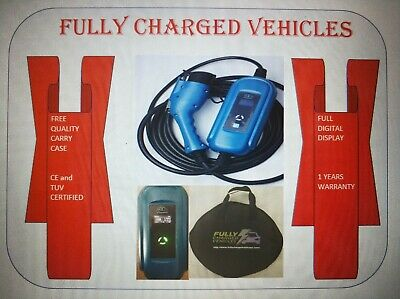 Renault Zoe portable EV charger 10m UK 3 pin plug. Charge your electric car.
