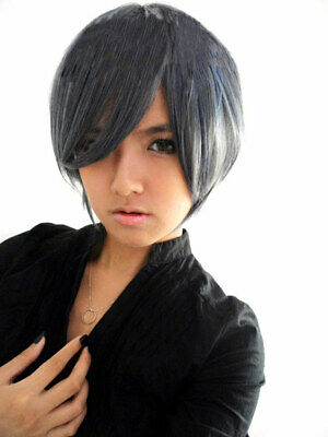 Perruque grise courte 30cm, cosplay