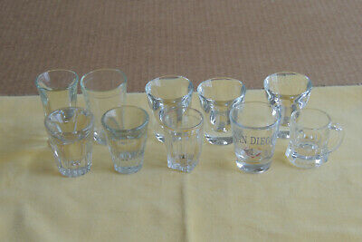 Vintage Heavy Base Thick Clear Shot Bar Glasses Assorted Mixed Lot of 10,