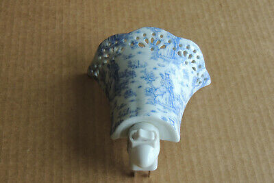 Antique Porcelain Wall Sconce Light Lighting Fixture Blue Flowers