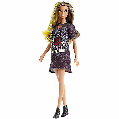 Barbie Fashionistas Doll 87 - Original with Ombre Hair & Rockin' T-shirt Dress