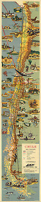 """Chile Mid-century Pictorial Map LARGE 16""""x77"""" Wall Art Poster Home School Office"""