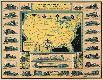 1920 Pictorial Locomotive Map of the United States Railroad Wall Art Poster US