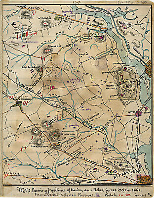1861 Civil War Map Showing Positions of Union and Rebel Forces Military Poster