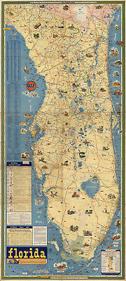Florida Pictorial Map Fishing Chart Home School Office Wall Art Poster History