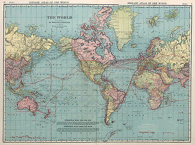 1876  Map Of The World on Mercator/'s Projection History Wall Art Poster Decor