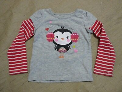 8afb582af09 Girls Jumping Beans Long Red and White Striped Sleeve Shirt Penguin Size