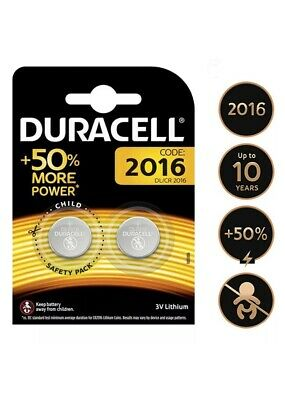 2 x Duracell CR2016 3V Lithium Coin Cell Battery 2016 DL2016 BR2016