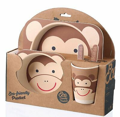Kids Eco Friendly Bamboo Fibre Tableware Lunch Dinner Set Dining Monkey