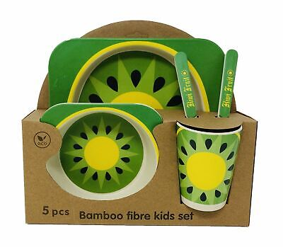 Kids Eco Friendly Bamboo Fibre Tableware Lunch Dinner Set Dining Kiwi