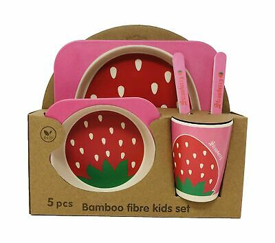 Kids Eco Friendly Bamboo Fibre Tableware Lunch Dinner Set Dining strawberry